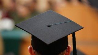 Student seen with graduation cap