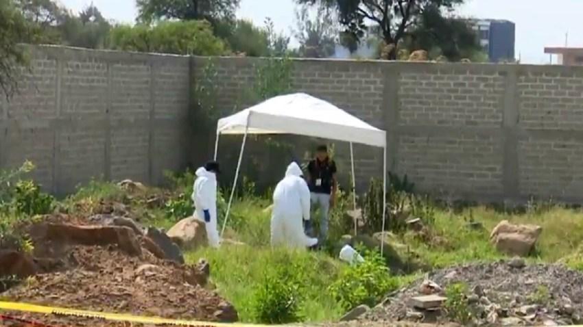 Peritos forenses recuperan restos de una fosa