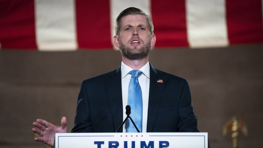 Eric Trump, executive vice president of Trump Organization Inc., speaks during the Republican National Convention at the Andrew W. Mellon Auditorium in Washington, D.C., U.S., on Tuesday, Aug. 25, 2020.