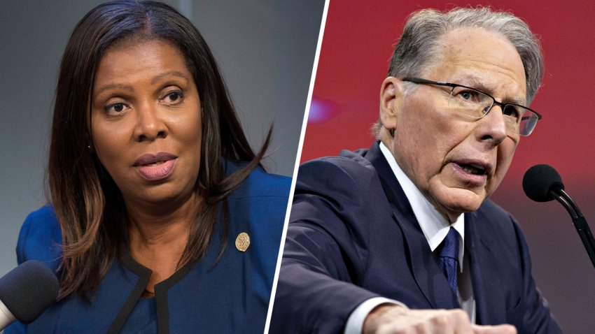 New York Attorney General Letitia James, left, announced a lawsuit against the NRA and its current top officials, including NRA CEO Wayne LaPierre, right.