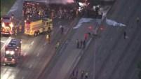 Siete vehículos se vieron involucrados en un feroz accidente ocurrido este viernes en la mañana en la autopista I-45.