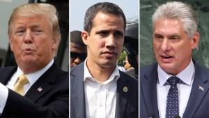 Trump apoya a Guaidó en Venezuela y amenaza a Cuba