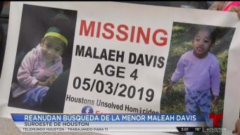 Voluntarios reanudan búsqueda de Maleah Davis
