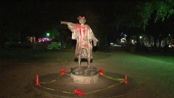 Vandalizan estatua de Cristobal Colón en Houston