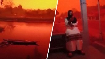 Tenebroso fenómeno: niebla roja cubre toda una región