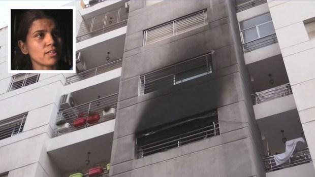 De película: madre salva a hijas de fuego en las alturas