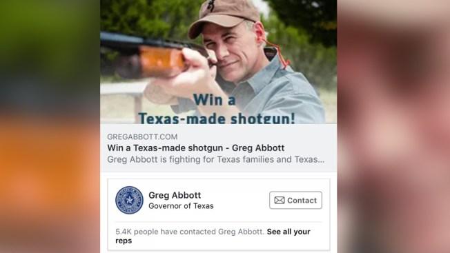 Abbott retira oferta de escopeta en rifa de su campaña