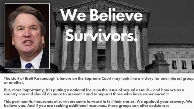 Convierten web de Kavanaugh en recurso para víctimas de abuso