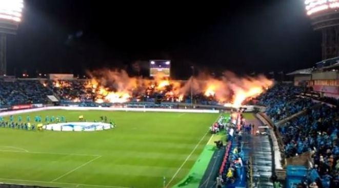 En llamas, estadio de fútbol ruso